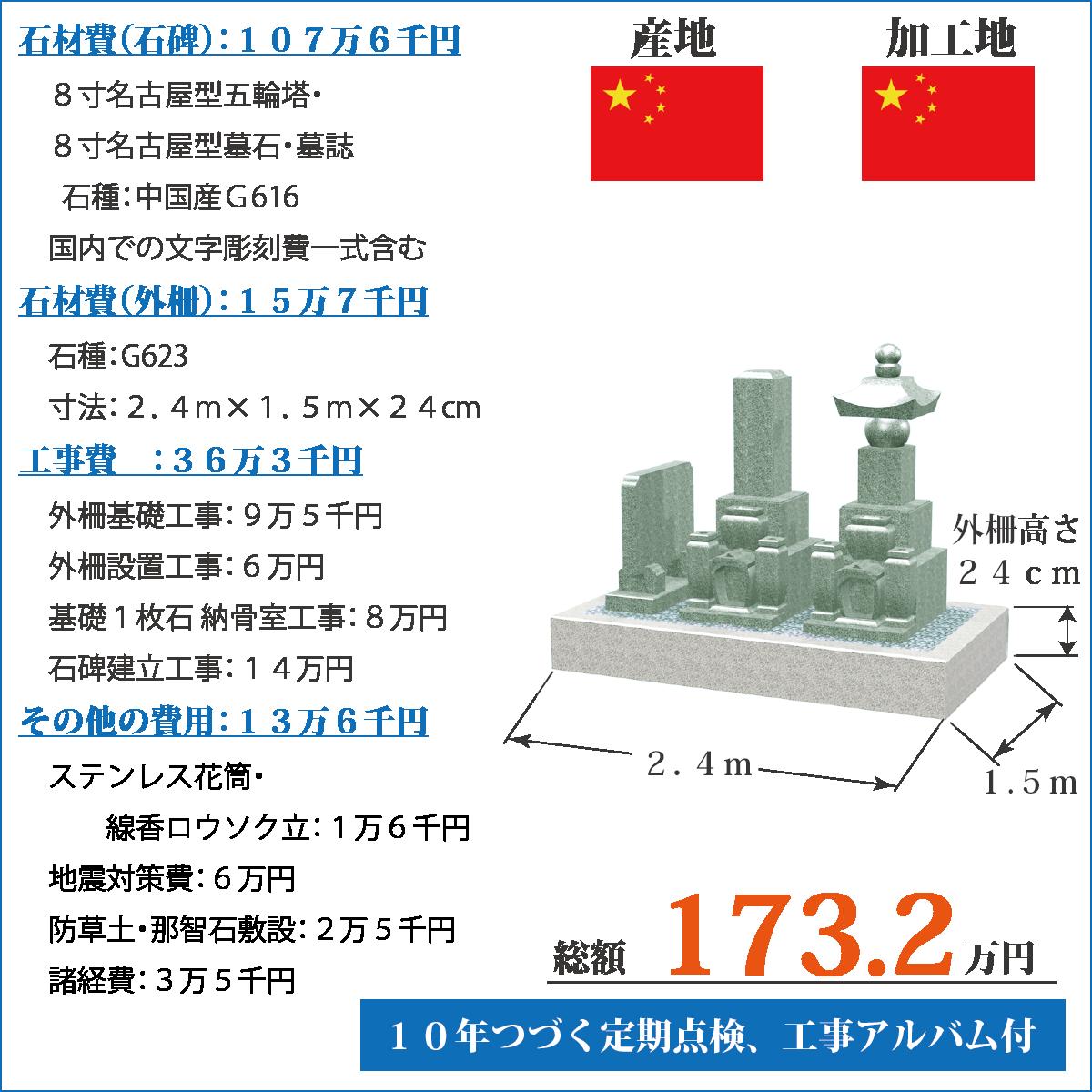 中国産G616五輪塔・墓誌セットのお墓