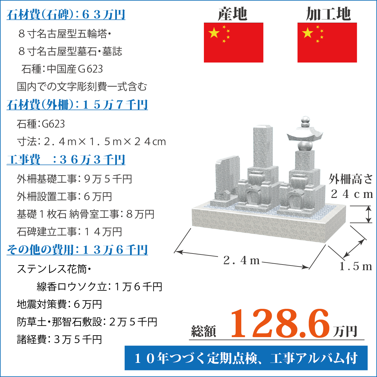 中国産G623五輪塔・墓誌セットのお墓