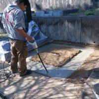 大垣市 安楽寺様で墓石の基礎工事、大垣市営羽衣霊園で基礎工事