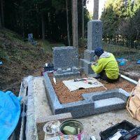 大垣市 上石津町で墓石リフォーム工事、墓石本体 建立、階段設置