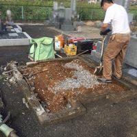 大垣市 福田墓地で新規墓石工事、ブロック解体工事