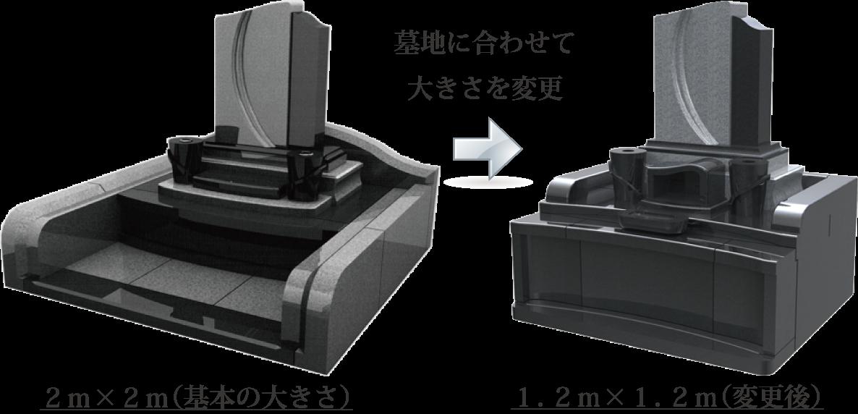 デザイン墓石、墓地に合わせてサイズ変更