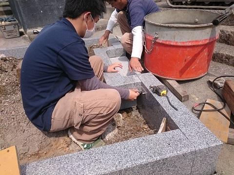 大垣市 昼飯霊苑で墓石リフォーム工事②外柵設置