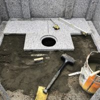 大垣市 こくぞうさんで納骨堂工事⑦床の石張