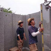 大垣市 こくぞうさんで納骨堂工事⑥外壁設置2