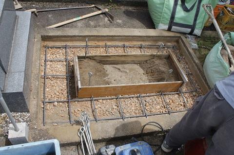 安八町で新しい墓石建立工事①基礎コンクリート