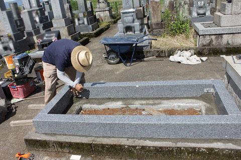 岐阜市 日置江墓地で墓石リフォーム工事②外柵設置工事