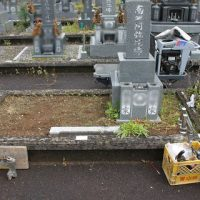 大垣市営青野霊園で墓石リフォーム工事①解体工事