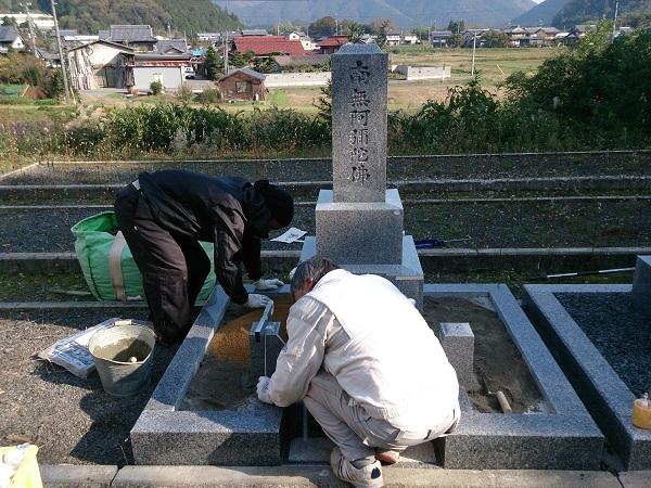 お墓の石碑設置工事