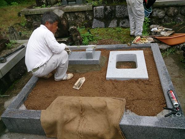 関ケ原町 河合様 お墓リフォーム工事 墓石本体設置工事