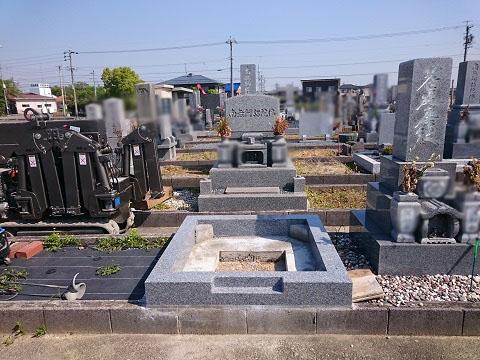 羽島市 不破一色墓地で日本加工大島石の墓石建立工事