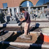 瑞穂市営 ほづみ霊園で新しい墓石工事①基礎工事