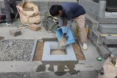 大垣市 本顕寺様で日本加工 茨城県産真壁小目の尺角の墓石建立工事