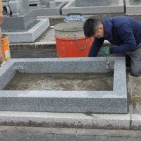 瑞穂市営 ほづみ霊園で新しい墓石工事②外柵設置工事