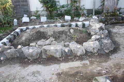 大垣市 圓願寺様で墓石リフォーム③自然石設置