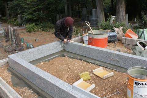 垂井町 宮代墓地で墓石リフォーム④外柵工事