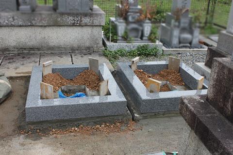 大垣市 割田・外花・外野共同墓地でお墓リフォーム工事③外柵設置