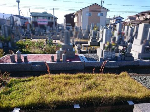 大垣市 南部霊苑で新しい墓石工事①基礎工事